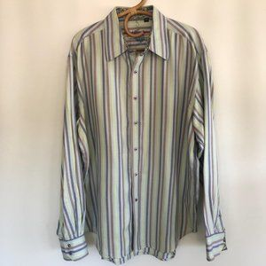 Robert Graham Blue Stripe Long Sleeve Shirt 2XL